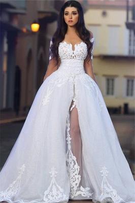 White A-Line Elegant  Bride Dress Appliques Tulle Long Sleeves Wedding Dresss BA4426_1