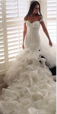 Sexy Mermaid Tiered  Wedding Dress Off the Shoulder Beading Long Bridal Gown_3