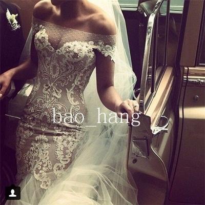 Off-the-shoulder Mermaid Wedding Dresses  Lace Tulle Best-selling Bridal Dress_3