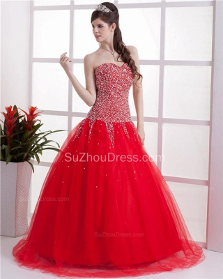 Red Sweetheart Quinceanera Dresses  Sequins Beading  Floor Length Lace-up Tulle Sleeveless Prom Dresses_2