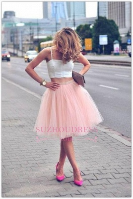 Pink Spaghetti Strap Formal Dress  Tulle White Sexy Sleeveless Two Piece Homecoming Dress_3