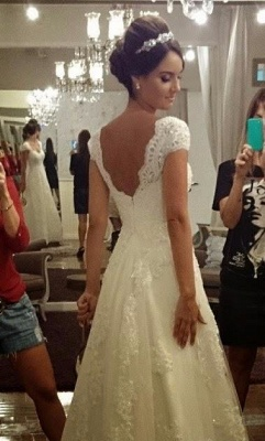 A-Line White Lace Long Wedding Dress with Beadings Elegant Applique Short Sleeve Zipper Bridal Gown_2