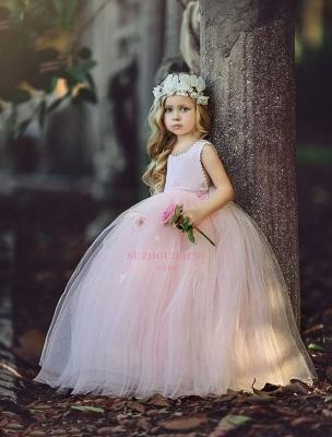 Ball-Gown Long Pink Cute Flower Girl Dresses BA6882_3
