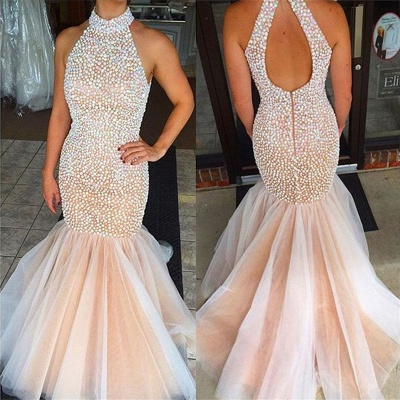 Beaded Crystals High Neck Mermaid Prom Dress  Open Back Sleeveless Evening Gowns BA2615_1