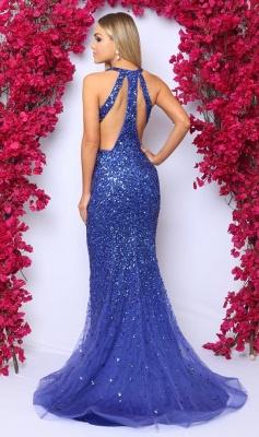 Glamorous V-Neck Sleeveless Rhinestones Prom Dress Royal Blue Crystals Evening Dresses On Sale_3