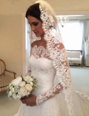 White Off-the-shoulder Lace Long Sleeve Bridal Gowns Sheath  Simple Custom Made Wedding Dresses_5
