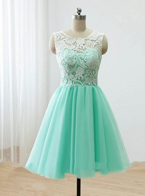 Cute Light Green Short Lace Homecoming Dress New Arrival Simple  Fitted Bridesmaid Dresses BO8527_1