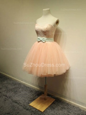 Cute Sweetheart Lace Tulle Short Cocktail Dresses with Bowknot Lace-up Pink Homecoming Dresses for Juniors_3
