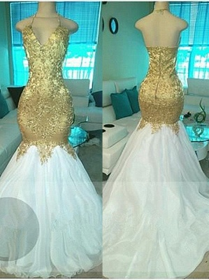 Gold Beading V-neck Halter Prom Dresses  Open Back Sexy Mermaid Popular Evening Gown BA5332-MQ0027_1