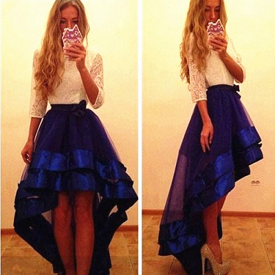 Hi-lo Lovely Organza  Popular Prom Dresses with Lace 3/4 Sleeve Cute Evening Dresses_2