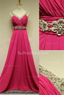 Sequins Chiffon A-Line Evening Dresses Ruffles Crystal  Prom Gowns_1
