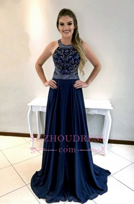 Dark Navy Chiffon Long Prom Dress  | Sleeveless Crystal Evening Gowns_5