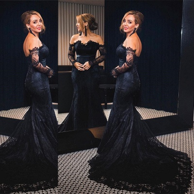 Black Lace Off-the-Shoulder Prom Dresses  Mermaid Long Sleeves Evening Gowns with Buttons_3