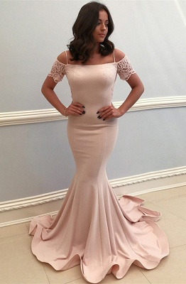 Baby Pink Lace Bowknot Mermaid Prom Dresses | Straps Short Sleeve Open Back Formal Evening Dress_1