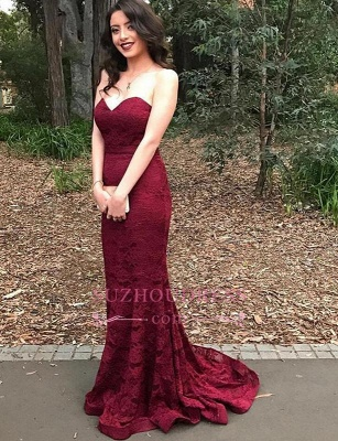 Burgundy Sweetheart Mermaid Evening Gown  Sleeveless Newest Lace Prom Dress_3