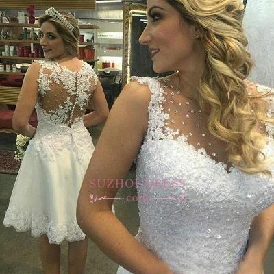 Sleeveless Beaded White Short Lace Chic A-line Wedding Dresses_1