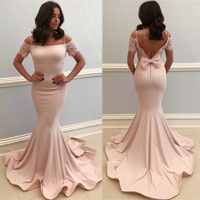 Baby Pink Lace Bowknot Mermaid Prom Dresses | Straps Short Sleeve Open Back Formal Evening Dress_3