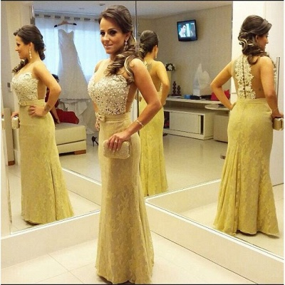 Beading Lace Floor Length Prom Dress New Arrival Custom Made  Evening Gown_3