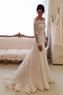 White Off-the-shoulder Lace Long Sleeve Bridal Gowns Sheath  Simple Custom Made Wedding Dresses_3