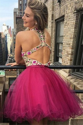 Glamorous Short V-Neck Homecoming Dresses | Sleeveless Open Back Flowers Hoco Dress_3