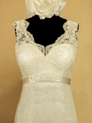 Elegant V-neck Lace Wedding Dress Mermaid Long Train Bridal Gowns with Beading Sash_4