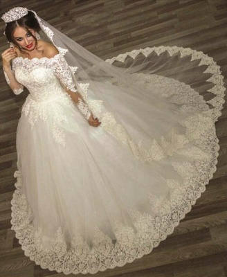 Ball Gown Wedding Dresses Long Sleeves Off Shoulder High Quality Bridal Gowns BA2878_1