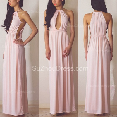 Halter Pink Chiffon Long Summer Dress Sexy Popular  Simple Evening Dress for Women_2