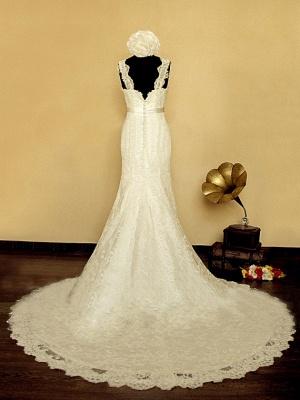Elegant V-neck Lace Wedding Dress Mermaid Long Train Bridal Gowns with Beading Sash_3