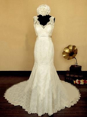 Elegant V-neck Lace Wedding Dress Mermaid Long Train Bridal Gowns with Beading Sash_1