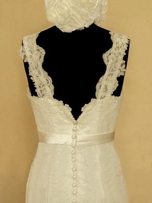 Elegant V-neck Lace Wedding Dress Mermaid Long Train Bridal Gowns with Beading Sash_5