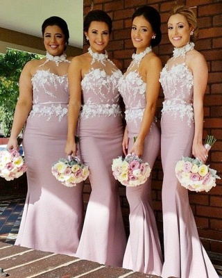 New Arrival Mermaid Halter Long Bridesmaid Dress High Collar  Plus Size Wedding dress_3