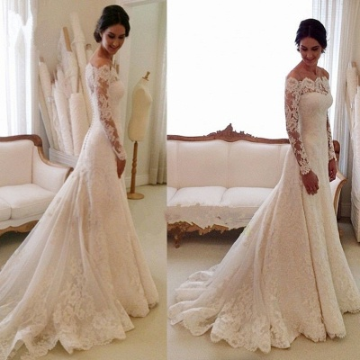 White Off-the-shoulder Lace Long Sleeve Bridal Gowns Sheath  Simple Custom Made Wedding Dresses_2