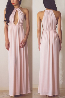 Halter Pink Chiffon Long Summer Dress Sexy Popular  Simple Evening Dress for Women_1