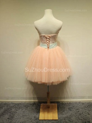 Cute Sweetheart Lace Tulle Short Cocktail Dresses with Bowknot Lace-up Pink Homecoming Dresses for Juniors_2