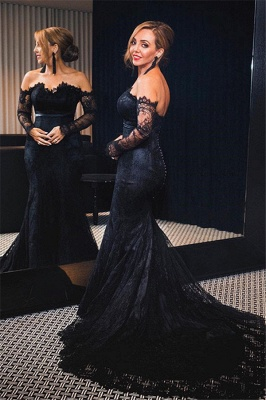 Black Lace Off-the-Shoulder Prom Dresses  Mermaid Long Sleeves Evening Gowns with Buttons_1