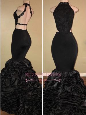 Black Sexy High-Neck Mermaid Prom Dresses  Halter Evening Dresses BA7775_2