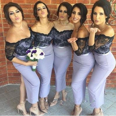 Sexy Half Sleeve Off the Shoulder Bridesmaid Dress Black Lace Tea Length Wedding Party Dresses JT146_1