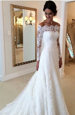 White Off-the-shoulder Lace Long Sleeve Bridal Gowns Sheath  Simple Custom Made Wedding Dresses_4