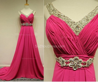 Sequins Chiffon A-Line Evening Dresses Ruffles Crystal  Prom Gowns_2