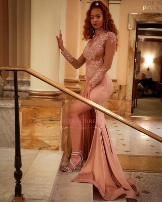 Gorgeous High-Neck Long-Sleeve Prom Dress | Lace Slit Mermaid Evening Gowns_1
