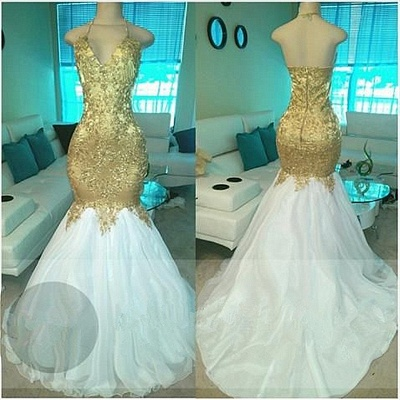 Gold Beading V-neck Halter Prom Dresses  Open Back Sexy Mermaid Popular Evening Gown BA5332-MQ0027_4