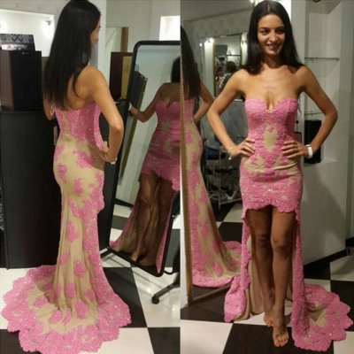 Sweetheart Sheath High Front Low Back Evening Dresses  Sexy pink Lace Formal Dress_3