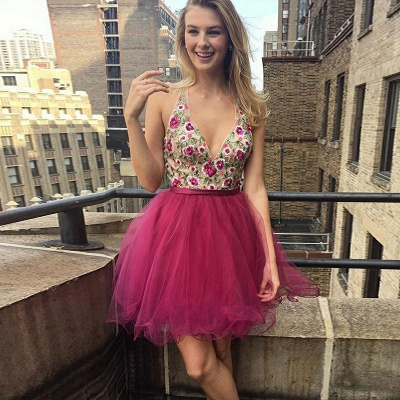 Glamorous Short V-Neck Homecoming Dresses | Sleeveless Open Back Flowers Hoco Dress_4