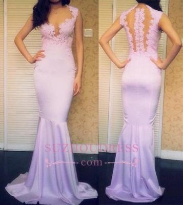Appliques Sleeveless Popular Mermaid Sweep-Train Sexy Prom Dresses_1