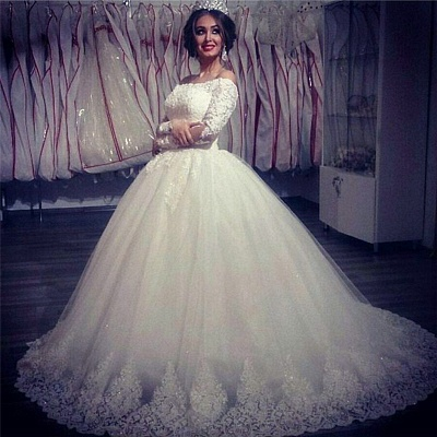 Ball Gown Wedding Dresses Long Sleeves Off Shoulder High Quality Bridal Gowns BA2878_4
