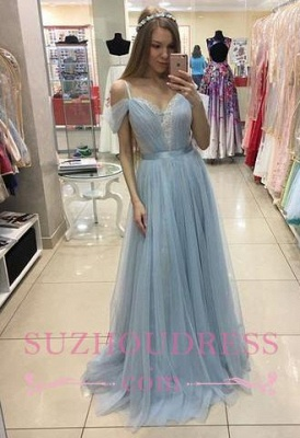 A-line Sweep Train Baby Blue Formal Dress  Cap Sleeves Beautiful Straps Tulle Prom Dress_1