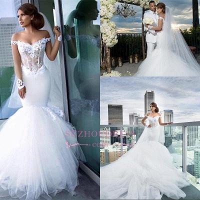 Mermaid Tulle Elegant Appliques Off-the-Shoulder Long-Sleeves Wedding Dress BA4387_1
