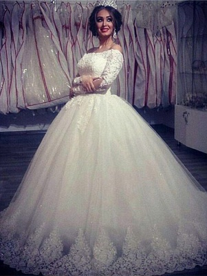 Ball Gown Wedding Dresses Long Sleeves Off Shoulder High Quality Bridal Gowns BA2878_5