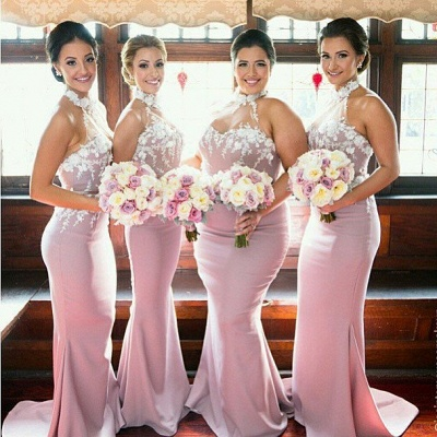 New Arrival Mermaid Halter Long Bridesmaid Dress High Collar  Plus Size Wedding dress_4