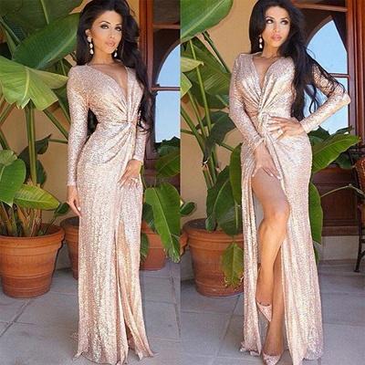 Long Sleeve Champagne Sequins Sexy Slit Evening Dress  Deep V-neck FB0116_3